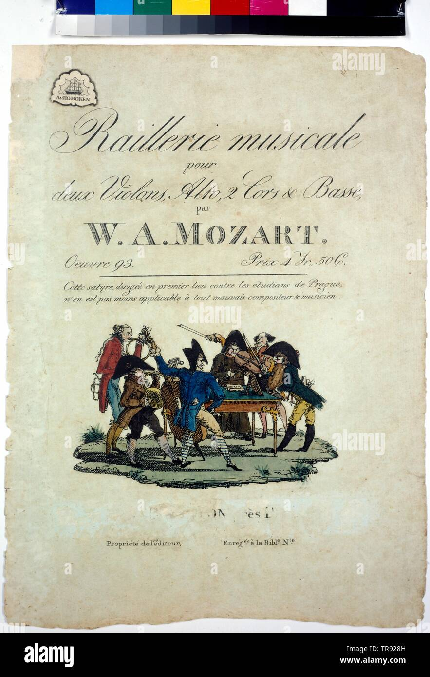 "title page ""Rallerie musicale pour deux Violons, Alto 2 Cors & Basse"", title page ""Rallerie musicale pour deux Violons, Alto 2 Cors & Basse"" by Wolfgang Amadeus Mozart. circa 1803, Additional-Rights-Clearance-Info-Not-Available Stock Photo"