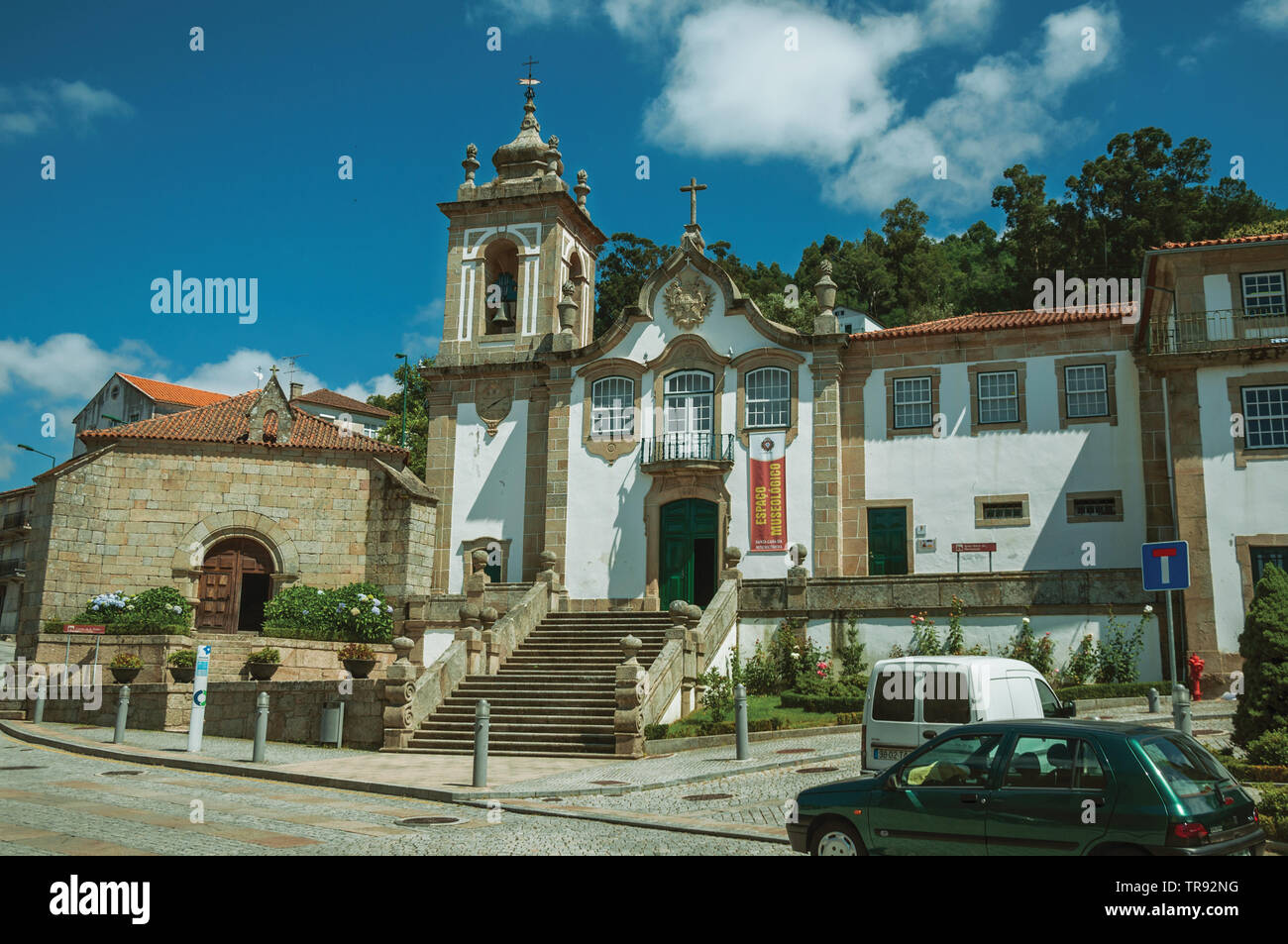 Baroque Church of the Misericordia in front of square at Seia. A nice village of Portugal also known for its delicious cheese. - Stock Image