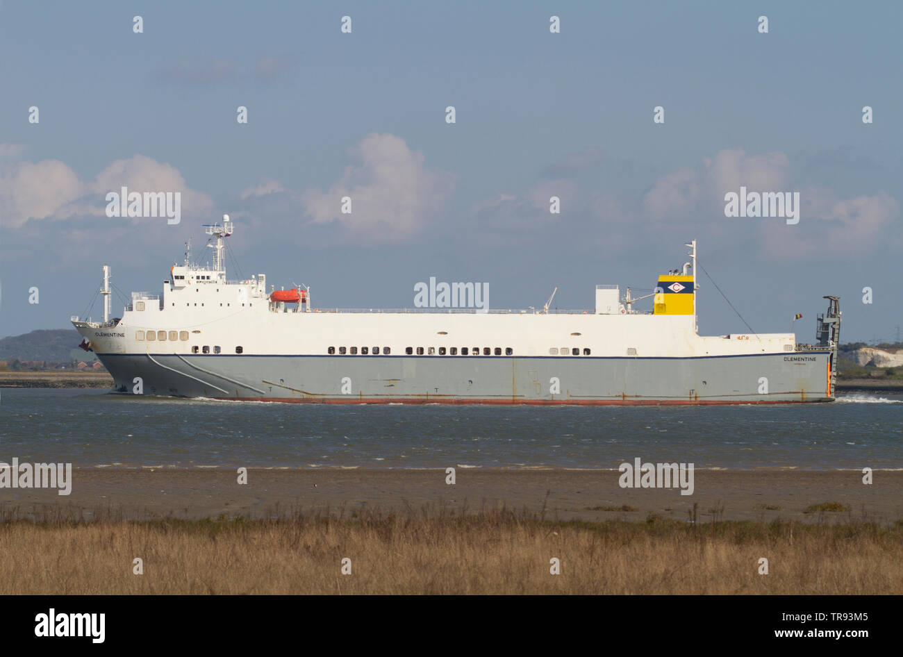The Clementine a ro-ro cargo ship sailing in the Thames Estuary near Tilbury in Essex. - Stock Image