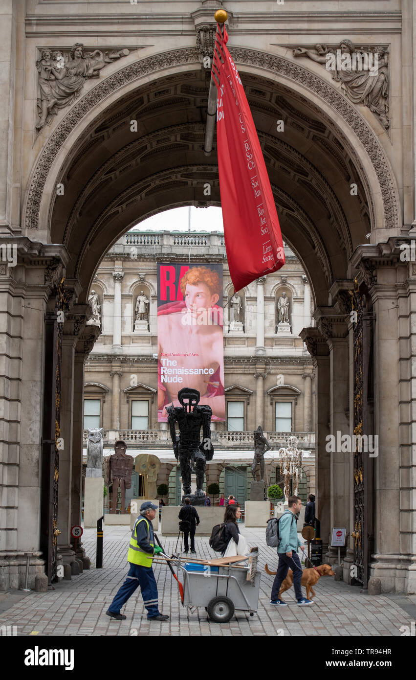 Royal Academy of Arts, London, UK. 31st May 2019. New major installation of six sculptures in the RA's Annenberg Courtyard by the celebrated artist, Thomas Houseago ahead of the opening of this year's Summer Exhibition on 10th June. Credit: Malcolm Park/Alamy Live News. - Stock Image