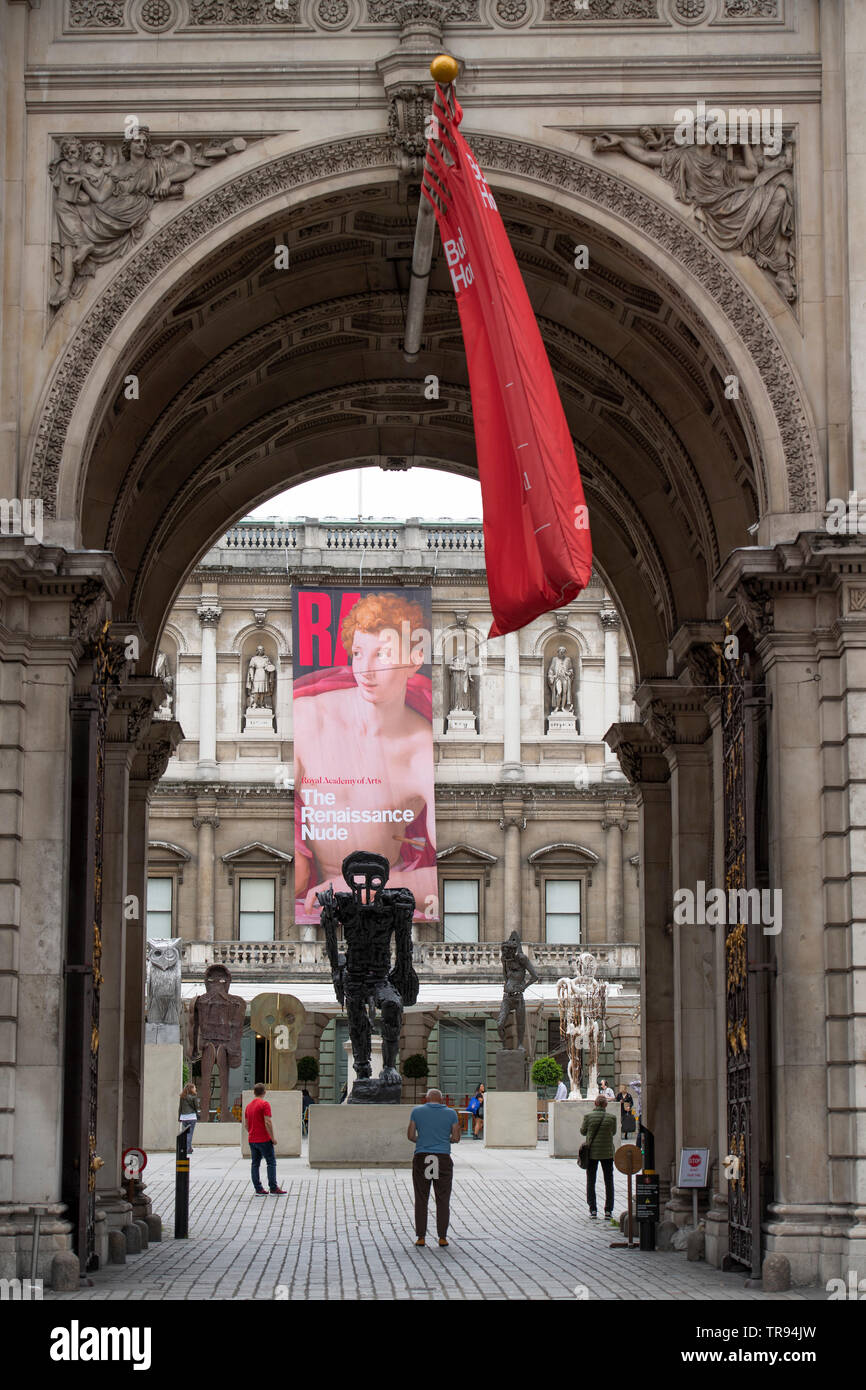 Royal Academy of Arts, London, UK. 31st May 2019. New major installation of six sculptures in the RA's Annenberg Courtyard by the celebrated artist, Thomas Houseago ahead of the opening of this year's Summer Exhibition on 10th June. Credit: Malcolm Park/Alamy Live News. Stock Photo