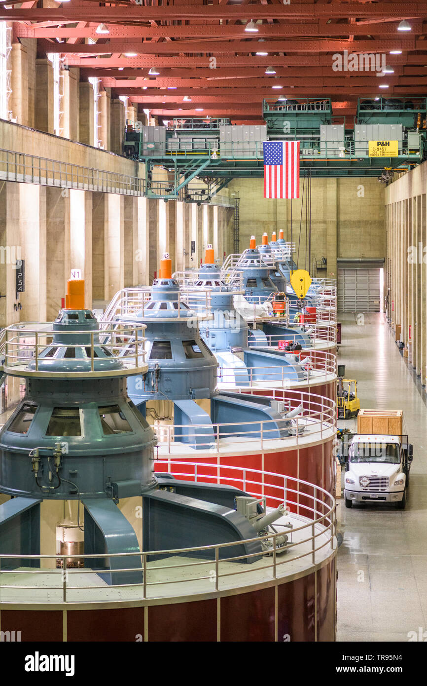 HOOVER DAM, ARIZONA - MAY 12, 2019: Generators of the Hoover Dam Power Plant. The structure was completed in 1933 amidst the Great Depression. Stock Photo