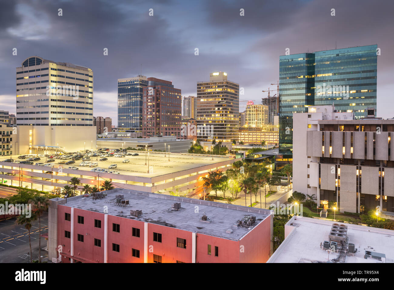 Ft. Lauderdale, Florida, USA downtown cityscape at dusk. - Stock Image