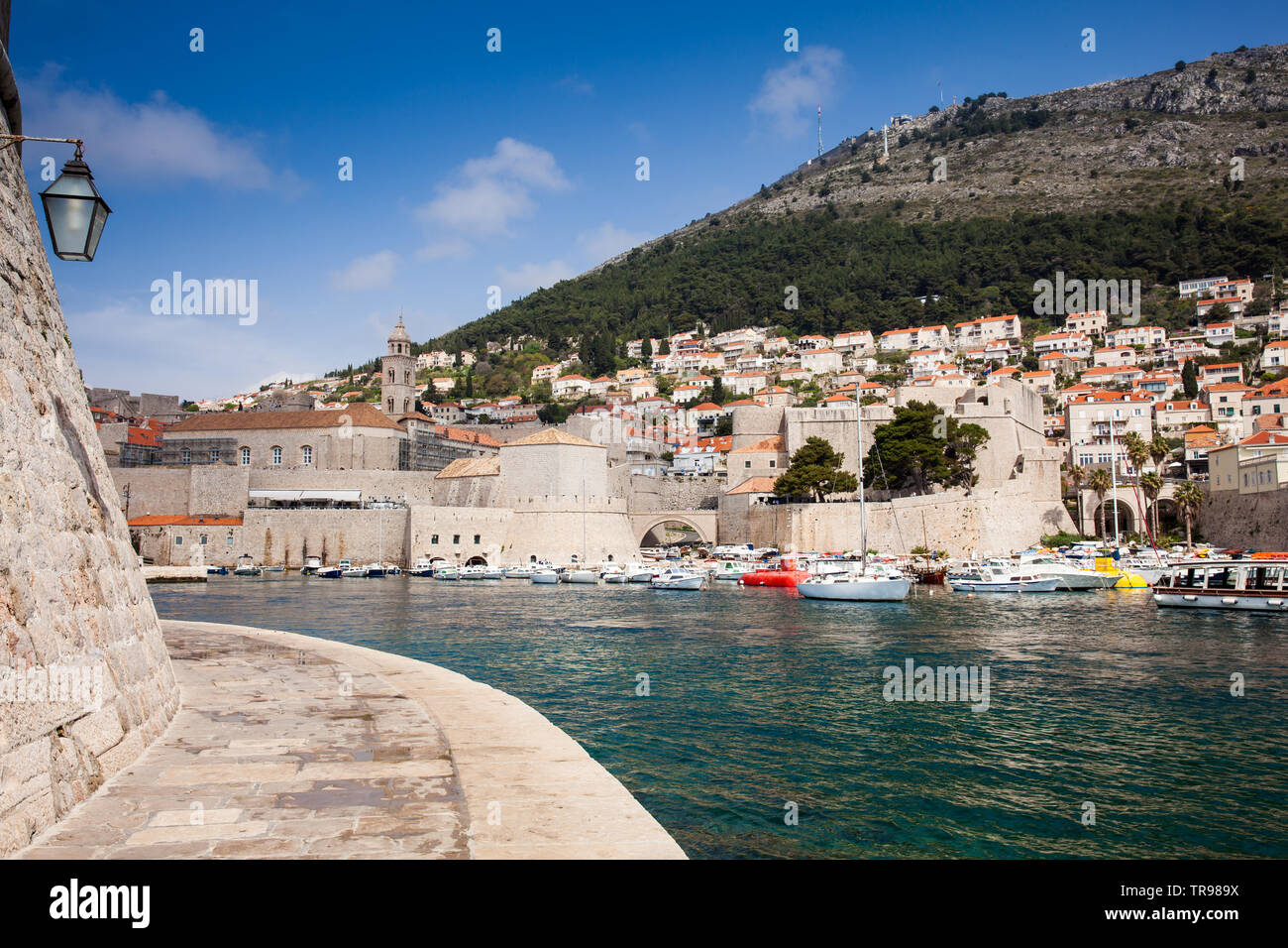 Dubrovnik city old port marina and  fortifications - Stock Image