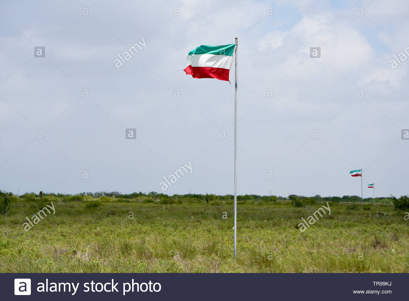 Mexican Flags Waving in the Wind. Mexican Battle Line at Palo Alto Battlefield in Brownsville Texas. Mexico Flag. Green White Red Mexico Flag Waving - Stock Image
