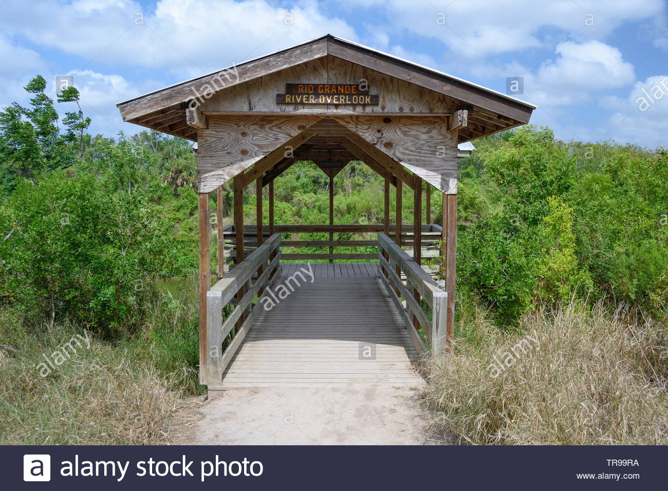 Rio Grande River Overlook at Sabal Palm Sanctuary on the Texas Mexico Border. Brownsville, Cameron County, Texas USA. Viewing Platform. Covered Walk - Stock Image