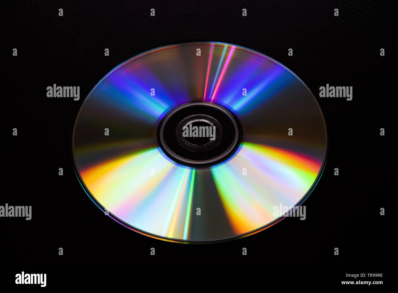 CD DVD CD-ROM Blu-ray disc computer storage data media music film games security plastic - Stock Image