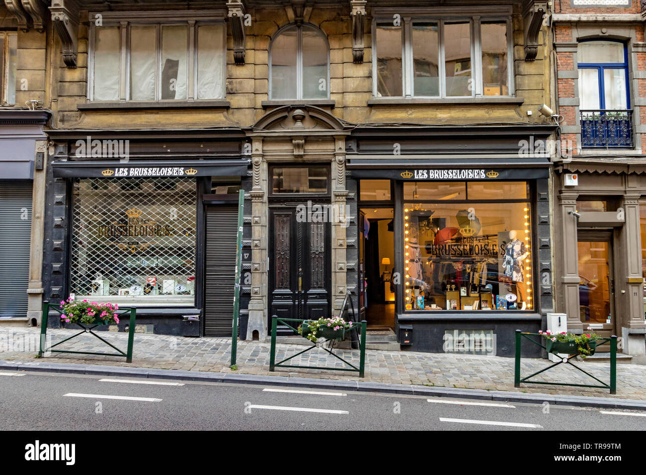 Shops and buildings along Rue Lebeau ,Brussels,Belgium Stock Photo
