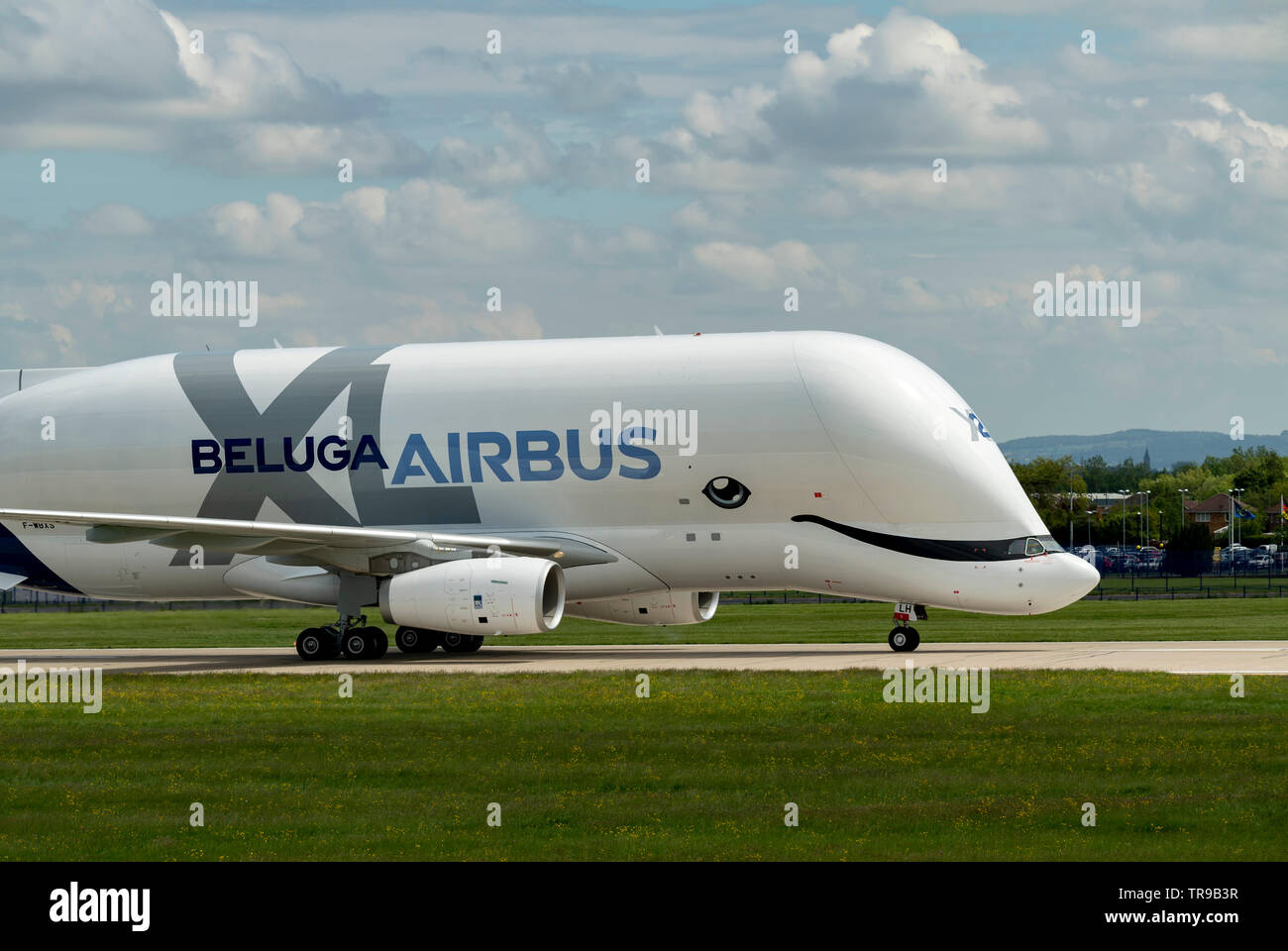 Airbus A330-743L Beluga XL2, F-WBXS  moving down runway after landing at Hawarden Airport Stock Photo