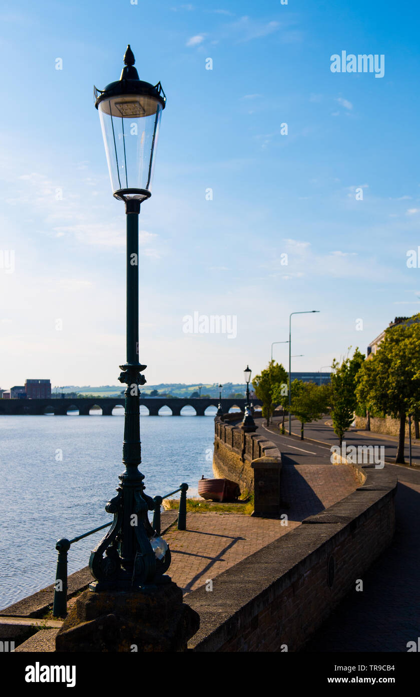 Cycling and running along the River Taw Barnstaple - Stock Image