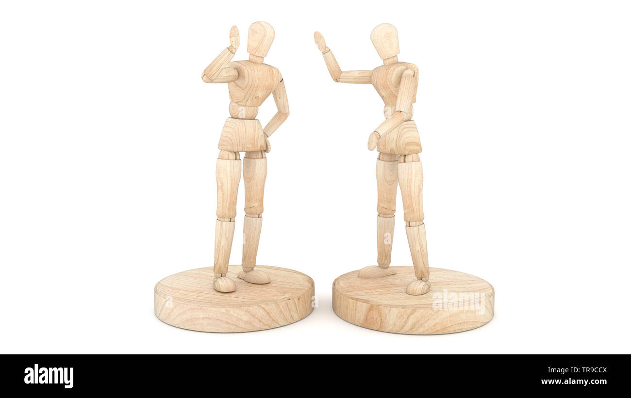 Two wooden puppets, greet and speak. 3D rendering - Stock Image