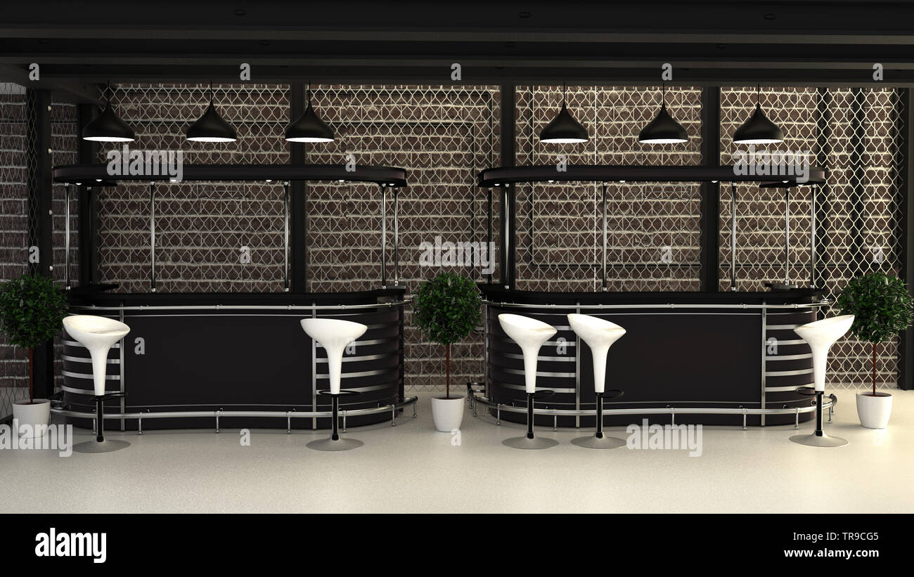 3d Render Cafe Bar Interior Stock Photos & 3d Render Cafe ...