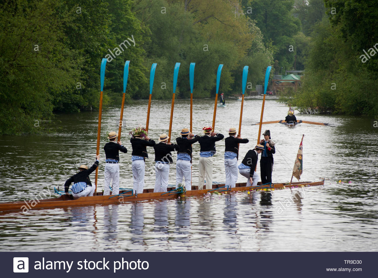 Eton College schoolboys rehearse the annual Procession of Boats ceremony on the River Thames. - Stock Image