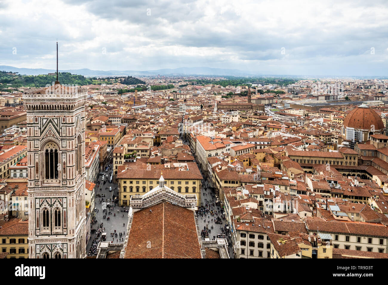 City Of Florence: Aerial Florence Cathedral Baptistery Stock Photos & Aerial
