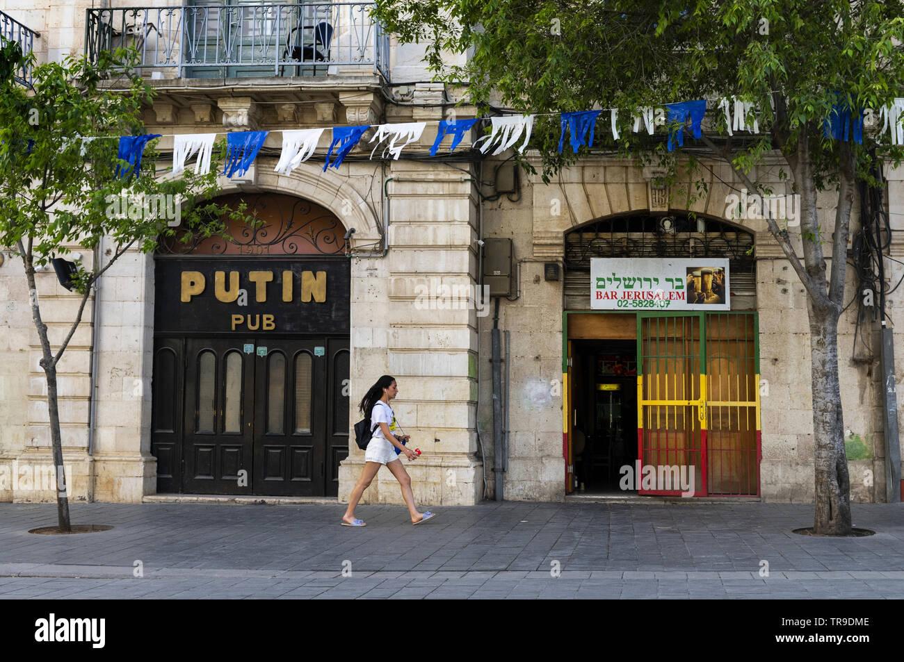 Pub bearing the name of the Russian President Vladimir Putin in Jerusalem - Stock Image