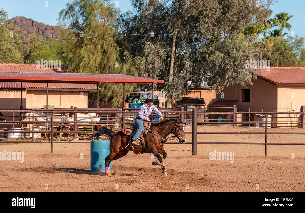 Weekly rodeo at White Stallion Ranch, a dude ranch outside Tucson, AZ. Barell racing, a timed event limited to woman riders. A topnotch barrel race ho Stock Photo