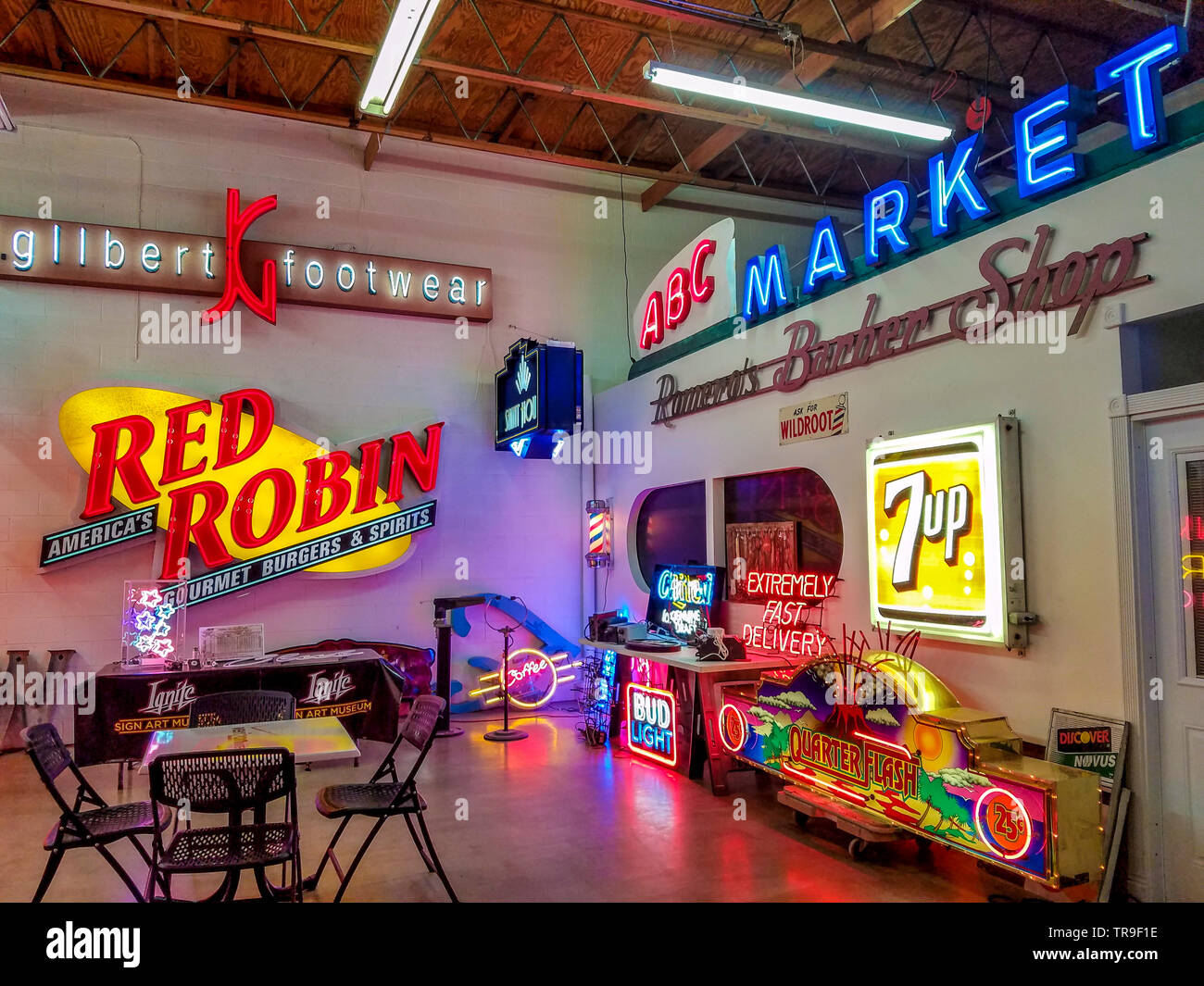 Ignite Sign Art Museum in Tucson, AZ. Neat restored neon signs and lots of art deco era memorabilia. - Stock Image