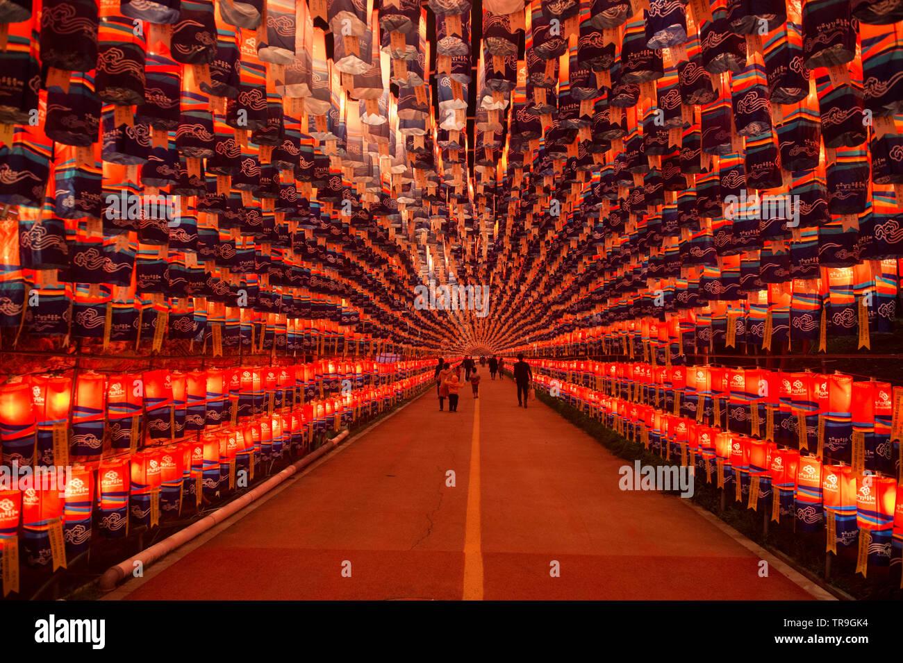 Tunnel Of Lanterns During The Jinju Lantern Festival In Jinju South Korea Stock Photo Alamy