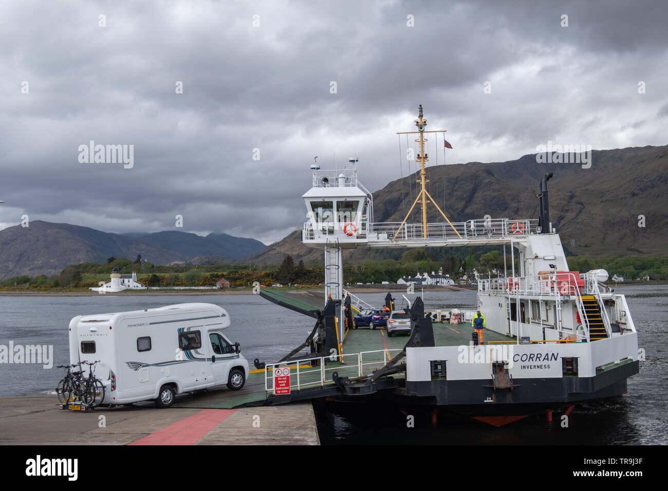 A motorhome drives onto the Calmac ferry Ardgour - Nether Lochaber known as the Corran Ferry, located south of Fort William, Scotland, UK - Stock Image
