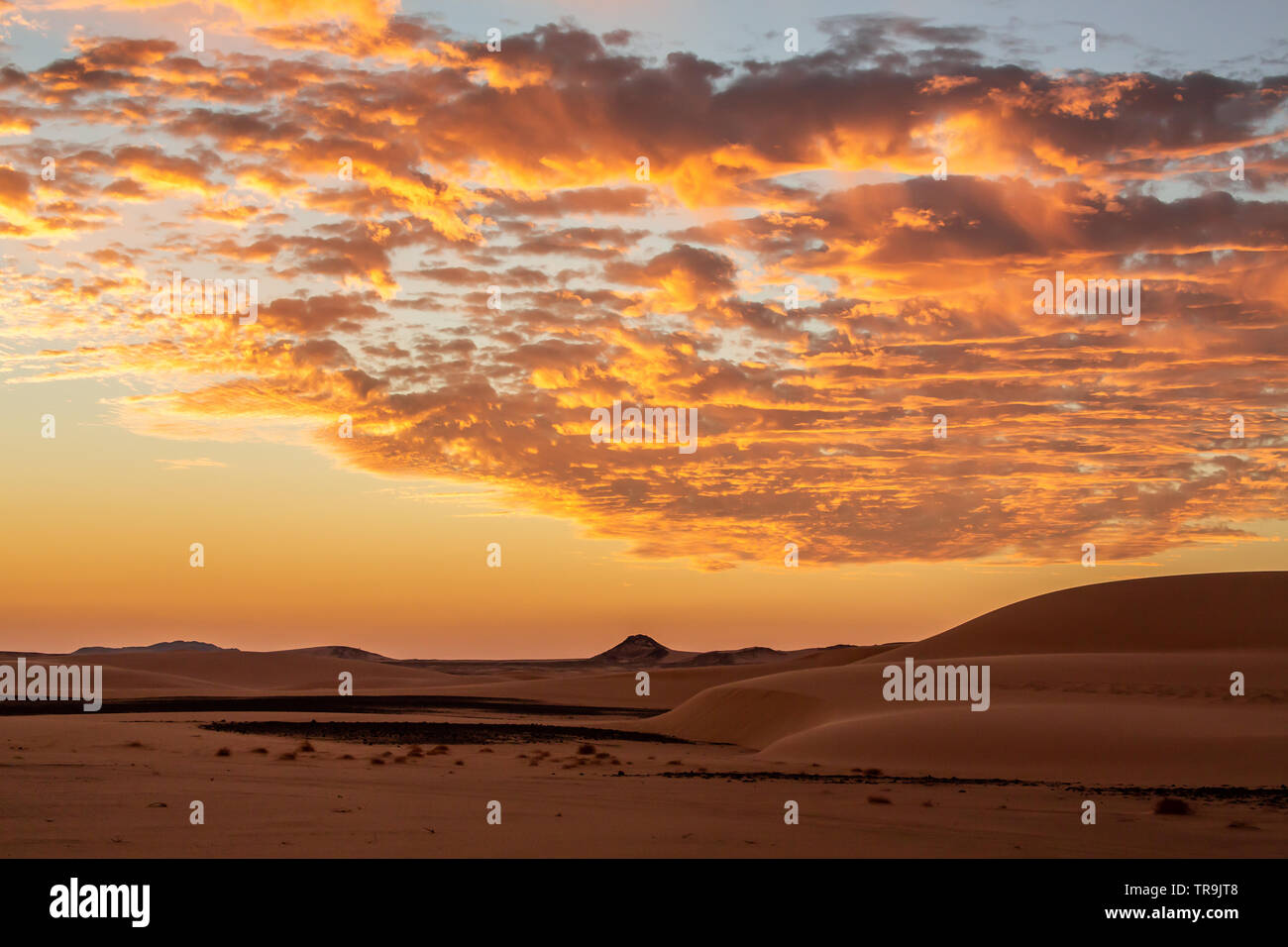 A beautiful African sunset in the western desert of Sudan with colourful clouds and sky and the flat desert landscape - Stock Image