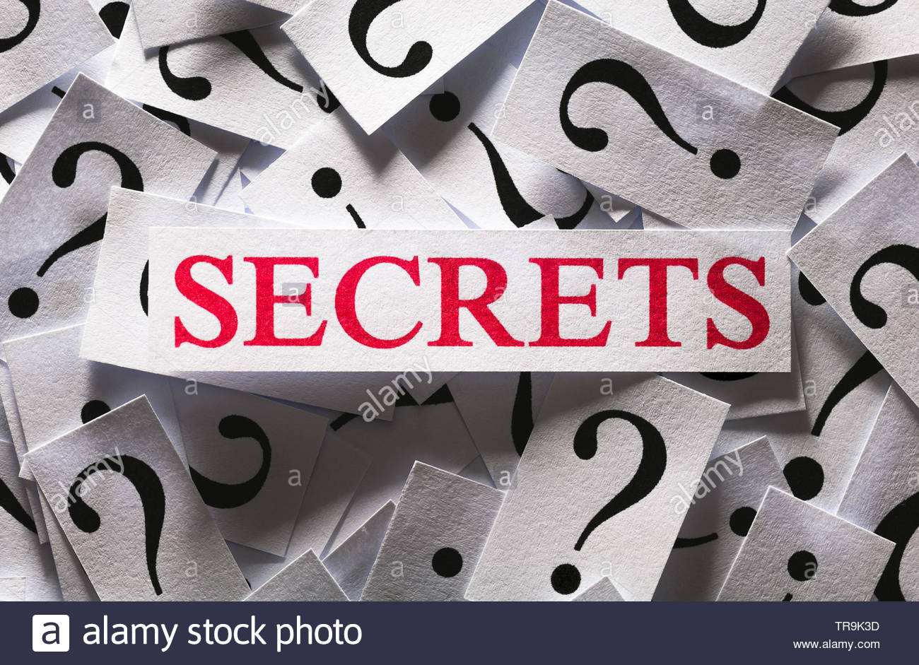 Questions about the Secrets , too many question marks - Stock Image