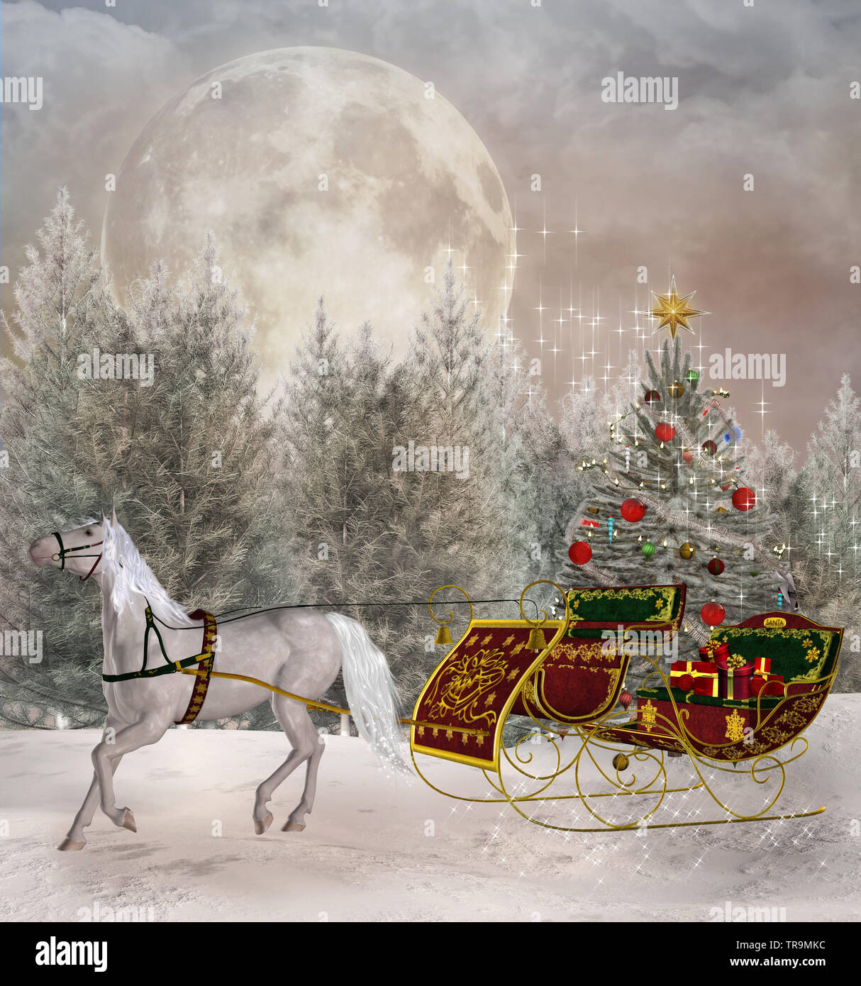 Christmas Travel Scene With A White Horse Dragging A Sledge Full Of Presents Stock Photo Alamy
