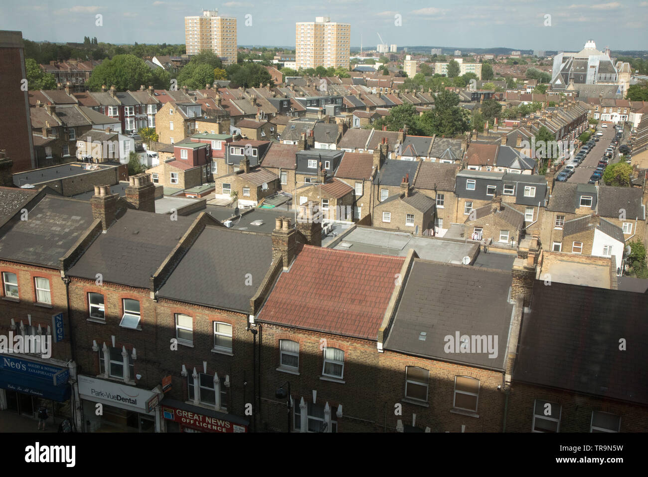 A general view of housing in houses and flats in Wood Green, North London Stock Photo
