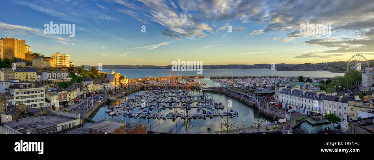 GB - DEVON: Panoramic view of Torquay Harbour and Torbay in background - Stock Image