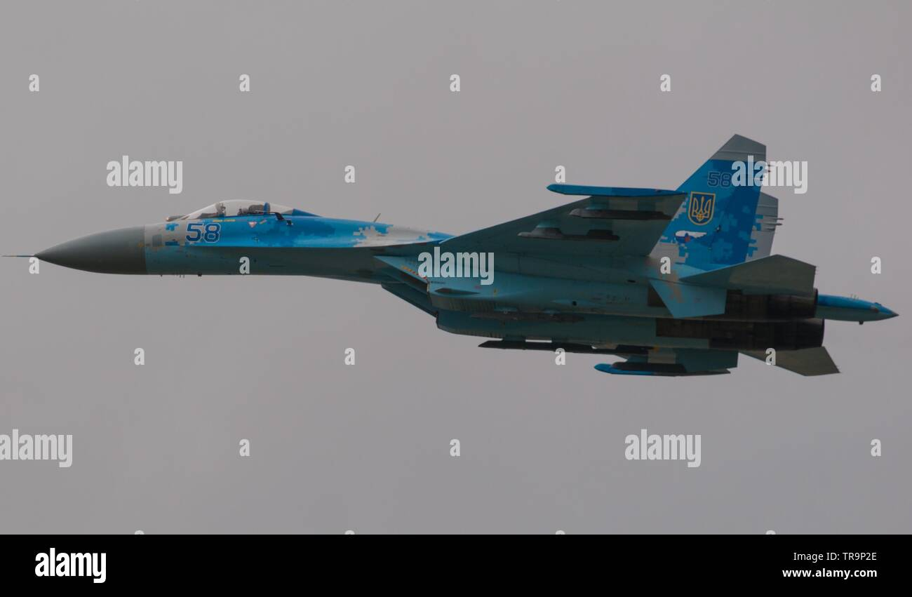 Ukrainian Air Force Su-27 Flanker, RAF Fairford - Stock Image