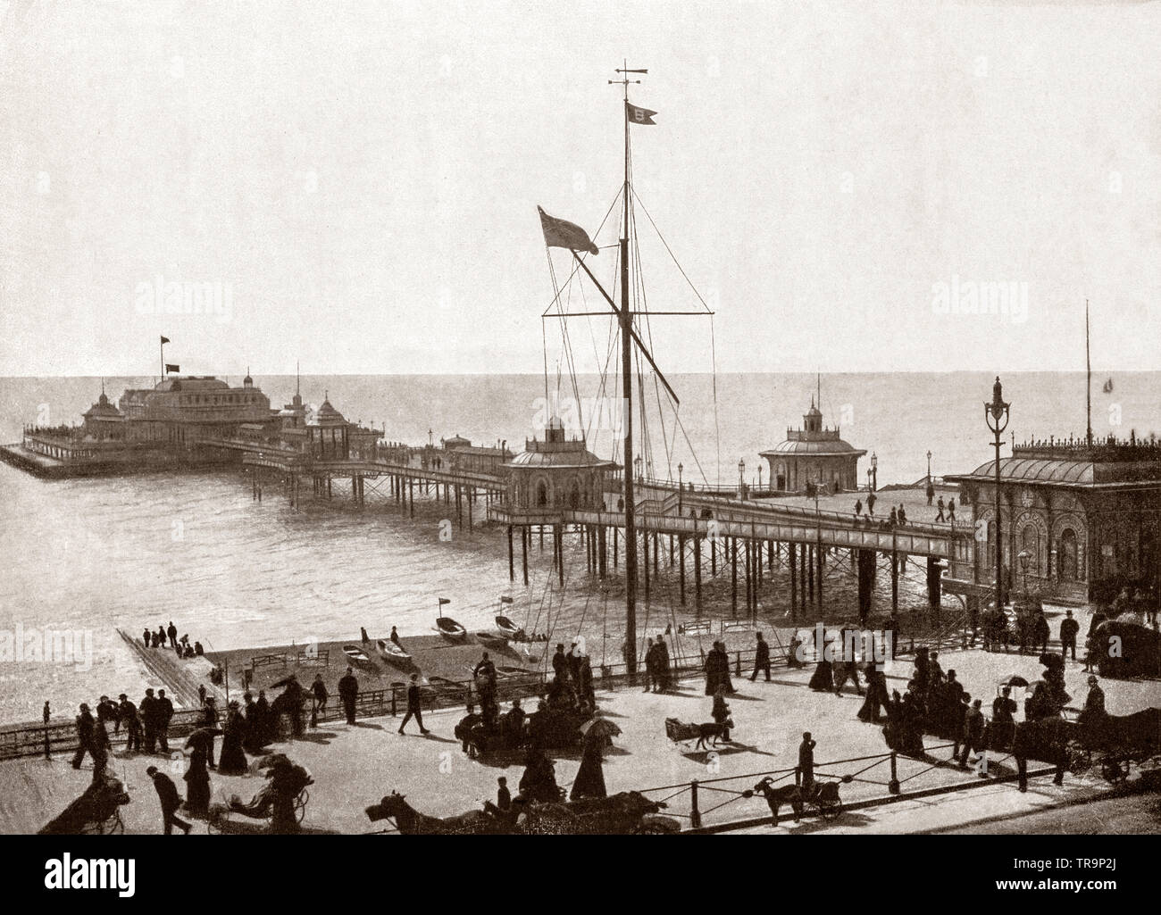 A 19th Century view of the West Pier in Brighton, East Sussex, England. It was designed by Eugenius Birch and opened in 1866 during the boom in pleasure pier building in the 1860s, and was designed to attract tourists to Brighton. - Stock Image