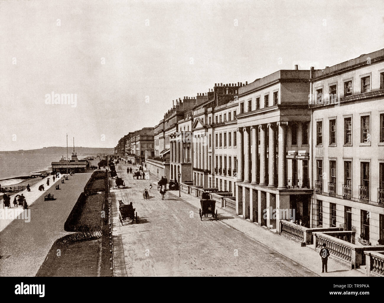 A 19th Century view of  the seafront of St Leonards-on-Sea (commonly known as St Leonards), East Sussex, England, part of Hastings since the late 19th century though it retains a sense of separate identity.  It was in 1875, that the two towns merged into the County Borough of Hastings, and by then the total seafront had reached some three miles in length. - Stock Image