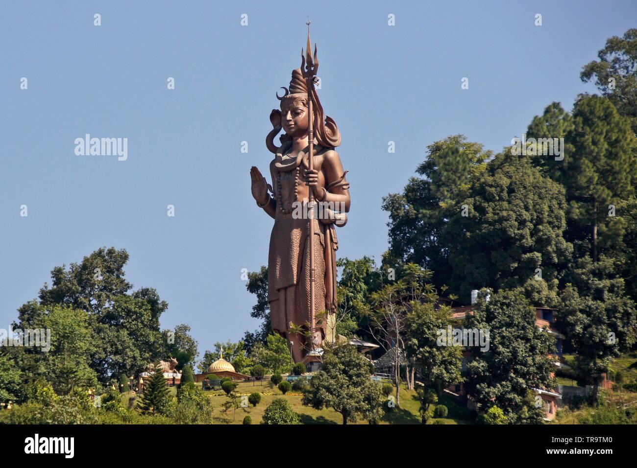 Large copper statue of Kailashnath Mahadev, designed to resemble images of the Hindu god Lord Shiva, Sanga, Nepal - Stock Image