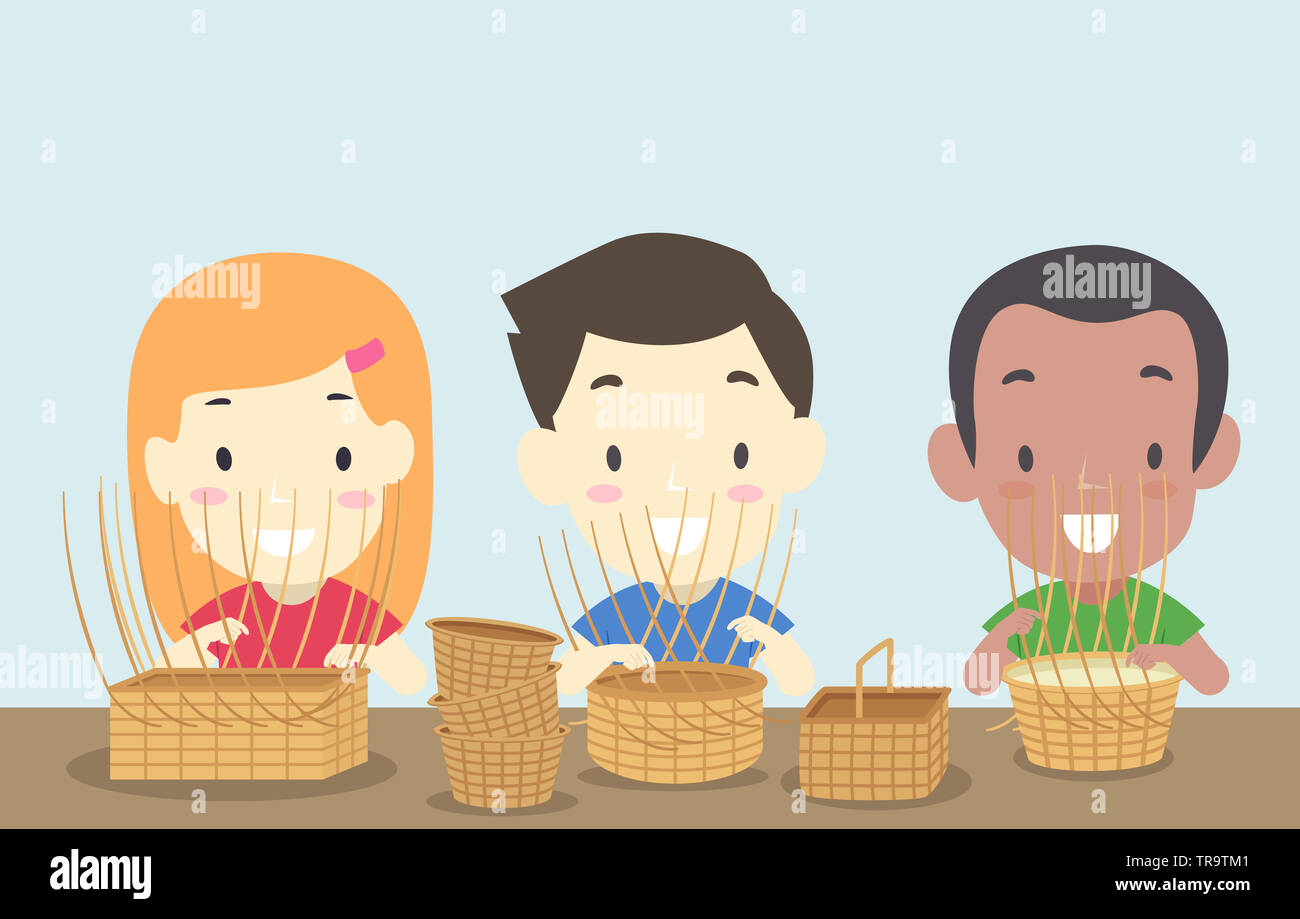 Illustration of Kids Weaving Baskets in a Class - Stock Image