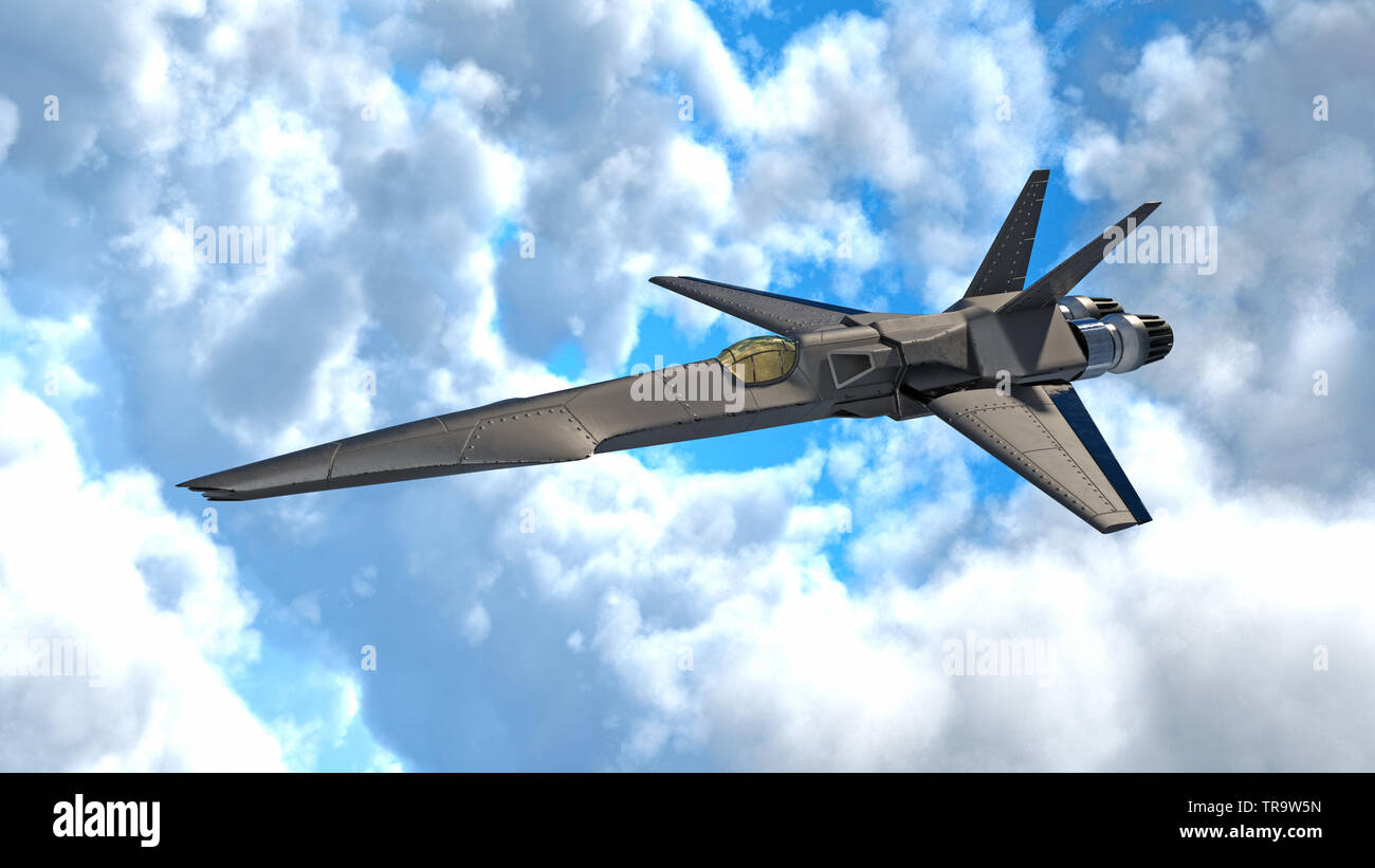 Fighter Jet, futuristic military airplane flying in clouds, 3D rendering - Stock Image