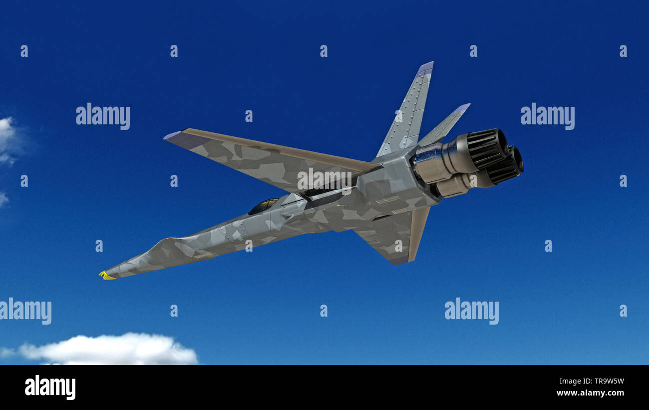 Fighter Jet, futuristic military airplane flying with blue sky in the background, bottom view, 3D rendering - Stock Image