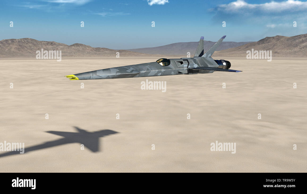 Fighter Jet, futuristic military airplane flying over a desert with blue sky and mountains in the background, 3D render - Stock Image