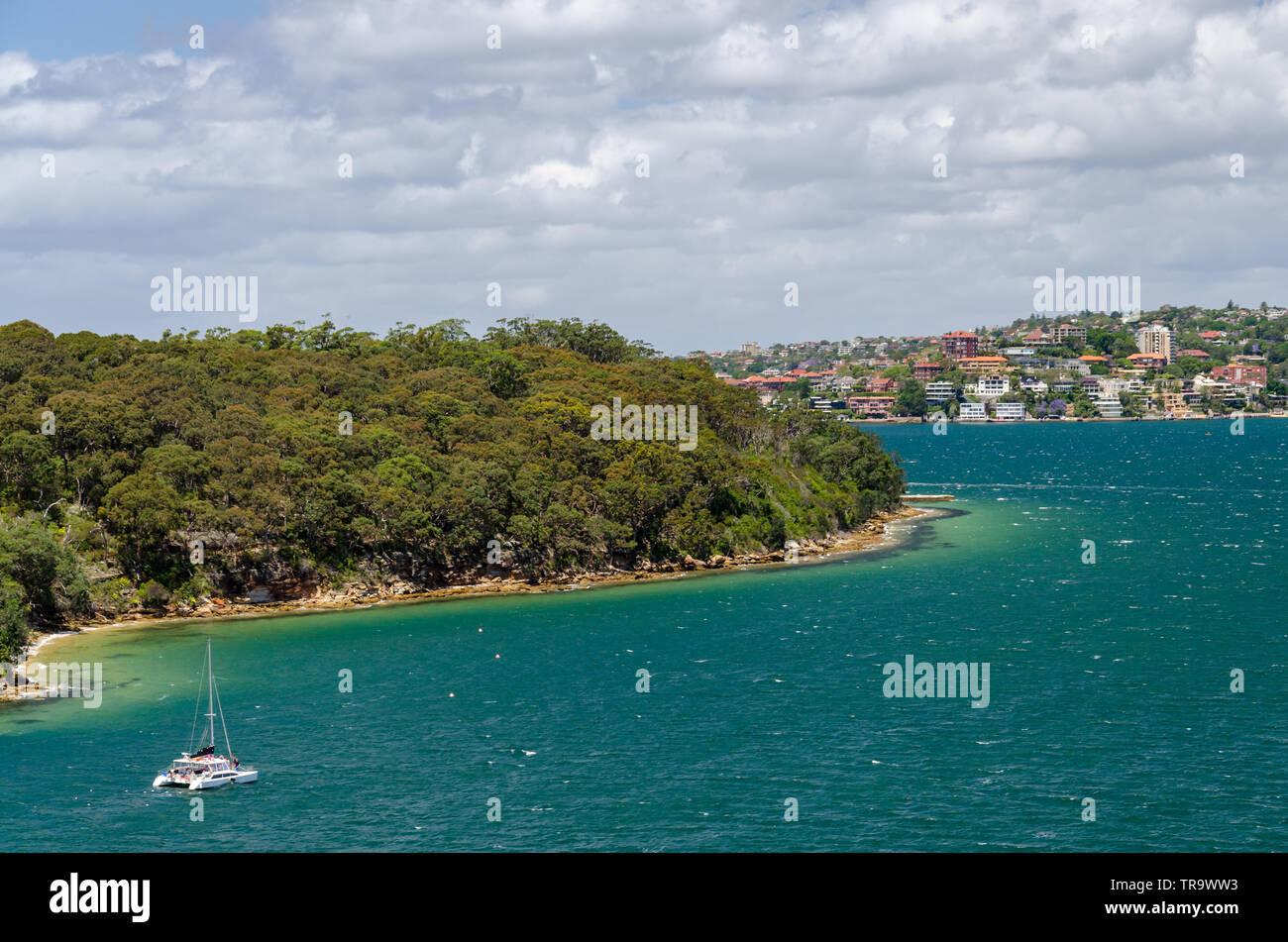 beautiful taylors bay area with a boat catamaran - Stock Image