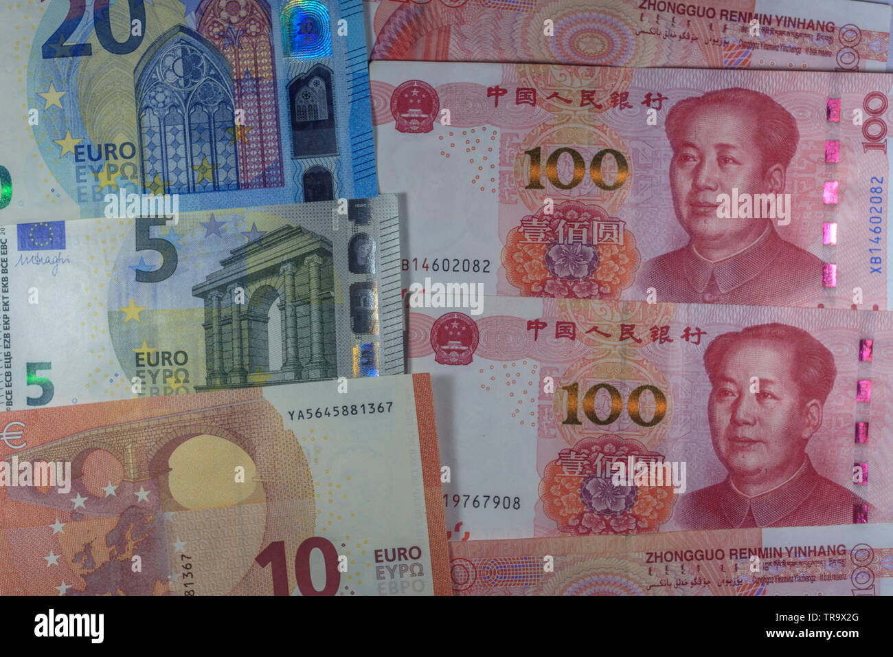 EU and China trading currencies - Stock Image