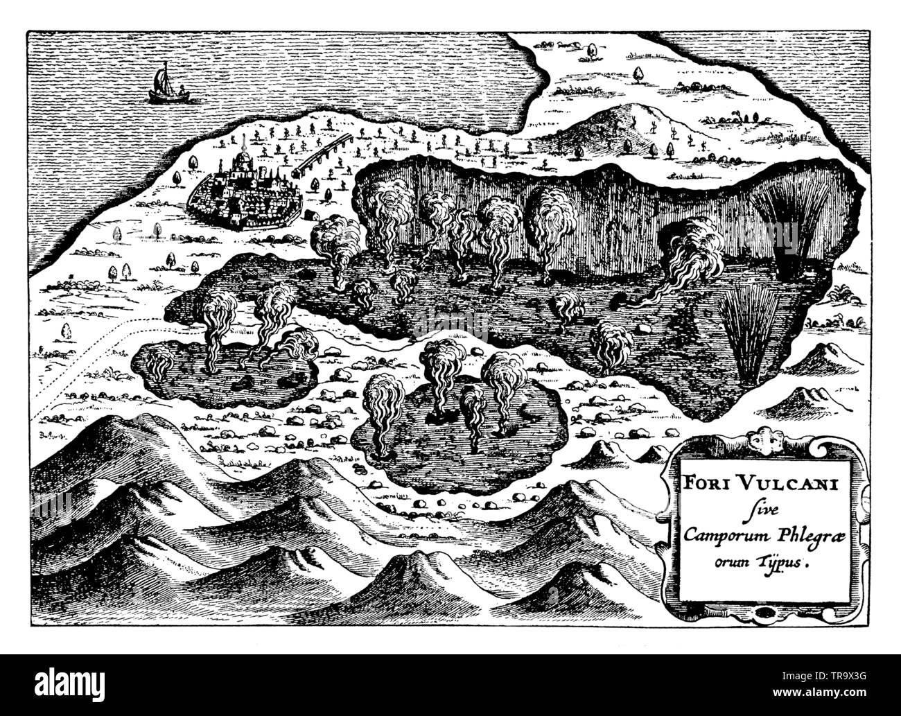 Fumaroles (estuaries of underground streams of fire) in the Phlegraean Fields near Naples. After Athanasius Kircher, ,  (popular science book, 1902) Stock Photo