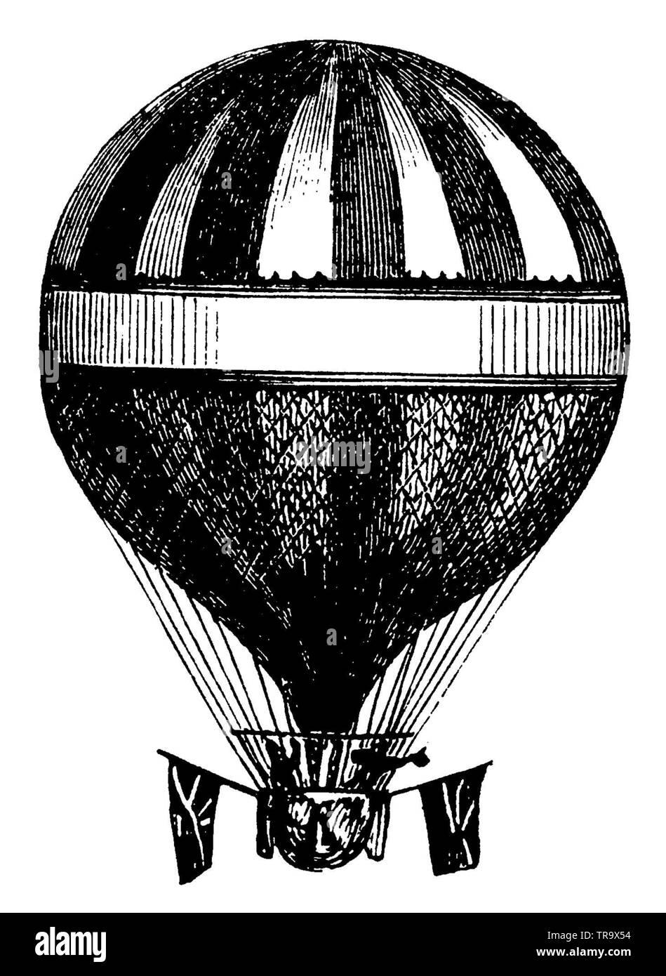 hot-air balloon, ,  (primer, 1870) - Stock Image