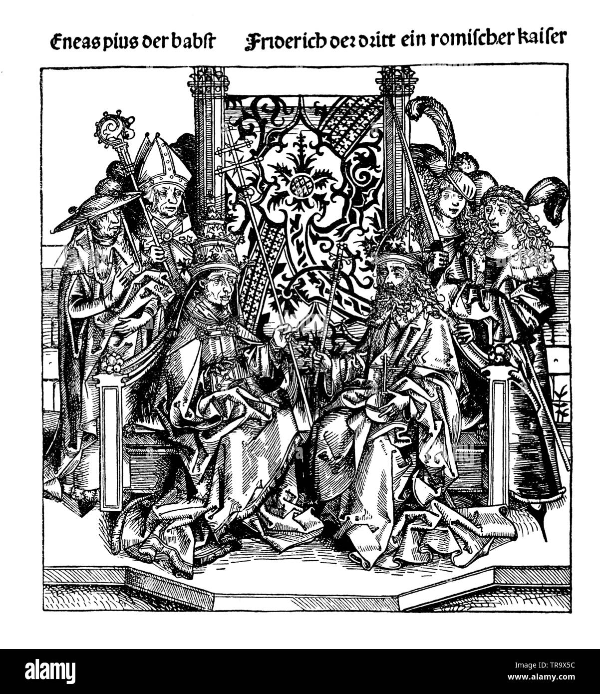 Pope Aenas Pius and Emperor Friedrich III. After a woodcut by Michel Wolgemut (1434 - 1519), , Michael Wolgemut (1434-1519) (religion history book, 1923) - Stock Image