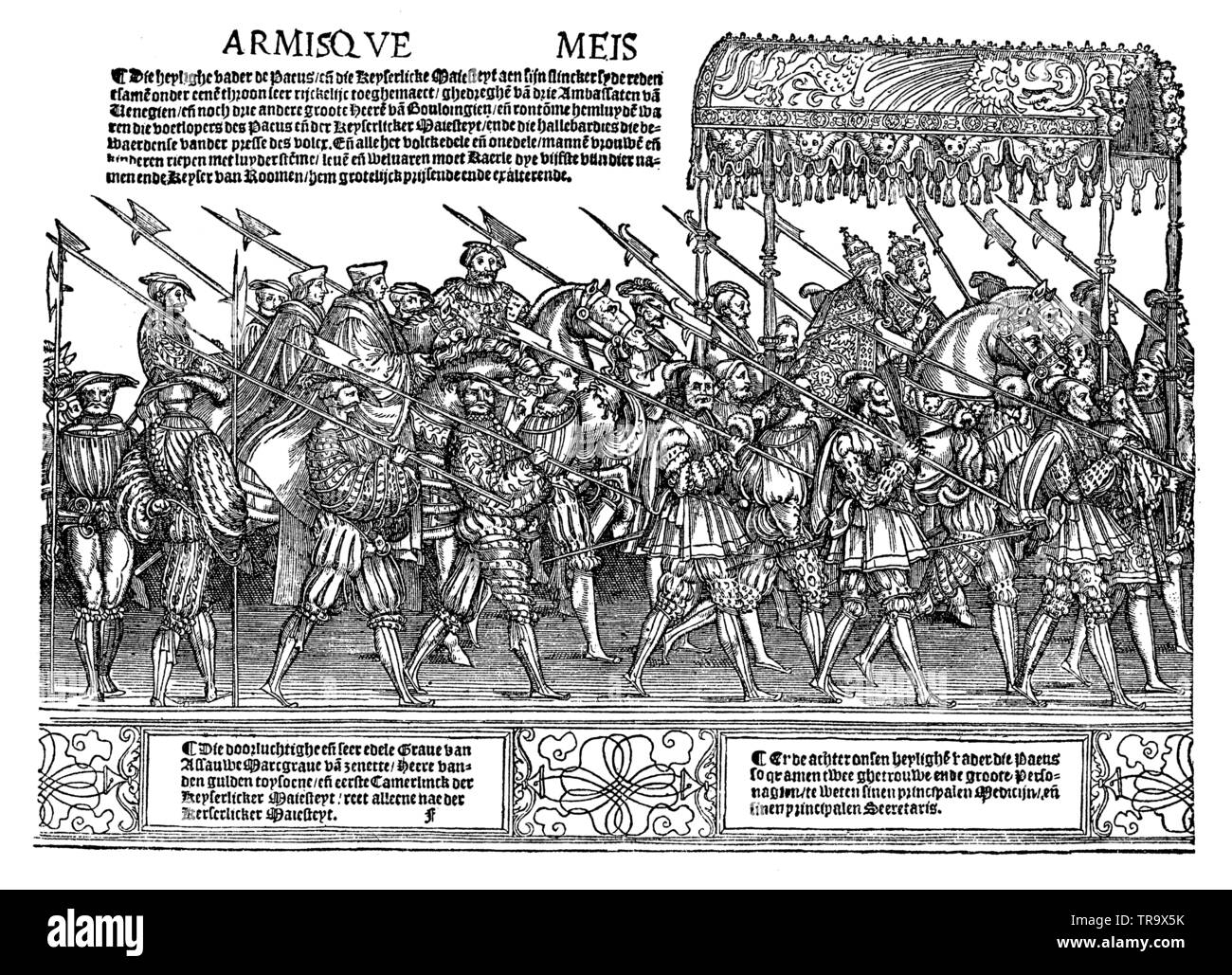 Splendid procession of Emperor Charles V and Pope Clemens VII to Bologna in 1530. After a German woodcut by J. Burgkmair, ,  (religion history book, 1923) - Stock Image