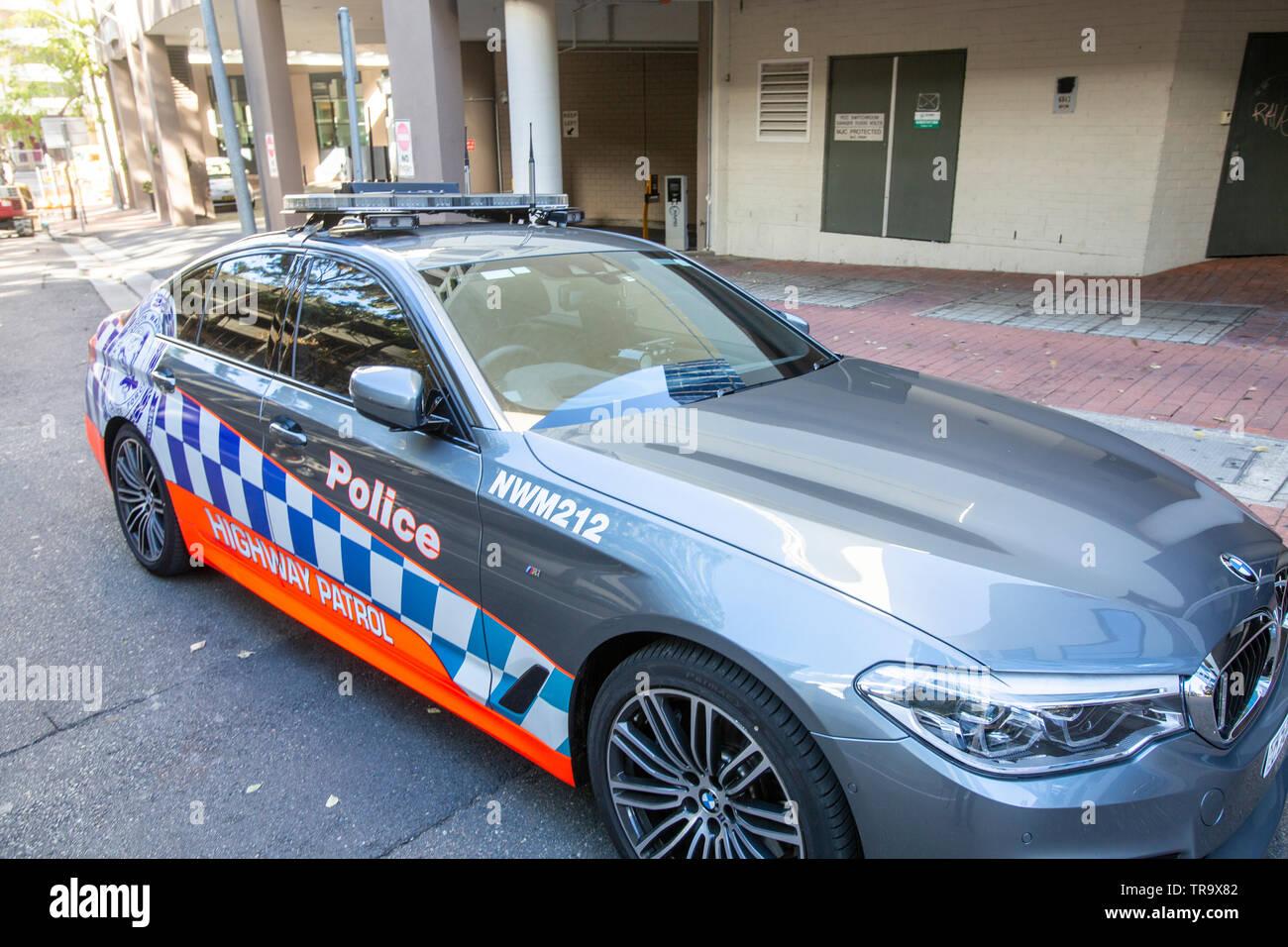 Sydney police BMW highway patrol car parked in Parramatta,Western Sydney,Australia - Stock Image