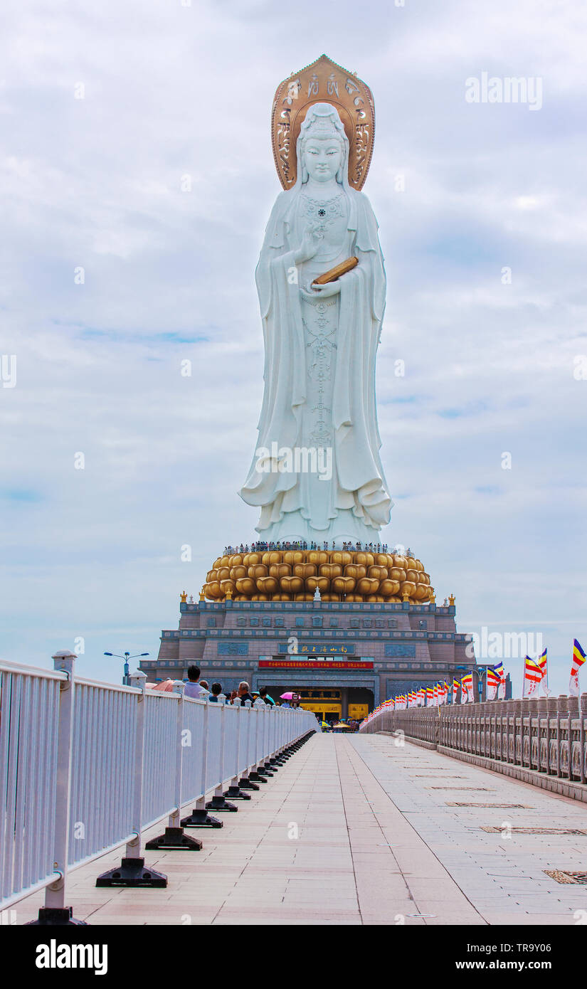 China, Sanya NOVEMBER 13, 2017: The statue of the goddess Guanyin in the center of Buddhism Nanshan. Historical sites of China Stock Photo