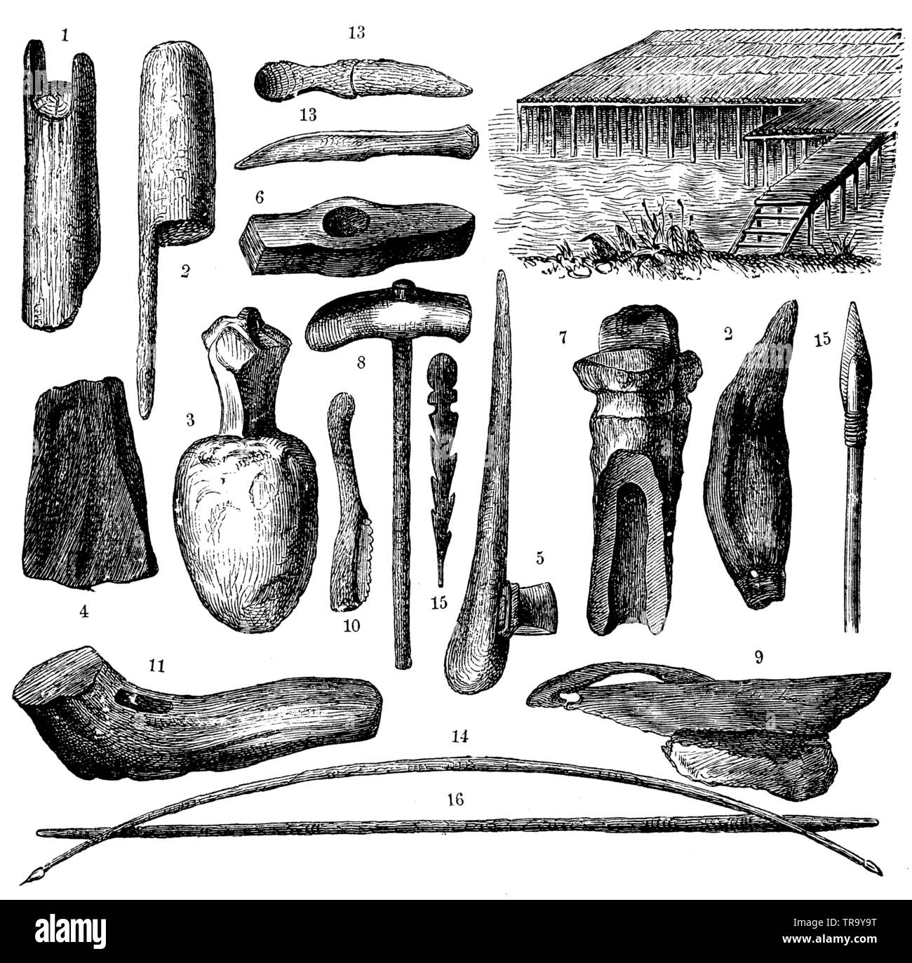 Weapons and tools from the age of pile dwellings. 1) Corner pile head, 2, 3) Wooden mallets for ramming in the piles. 4) Stone wedge. 5) Holmaxt. 6) Stone hammer. 7) Stone axe. 8) Axe hammer. 9) Stone saw. 10) Flint saw. 11) Deer horn hammer. 12) Bear tooth (puncturing tool). 13) Two yew wood knives. 14) Hunting bow and war bow made of yew wood. 15) Spearheads. 16) Throwing spear, ,  (anthropology book, 1874) Stock Photo