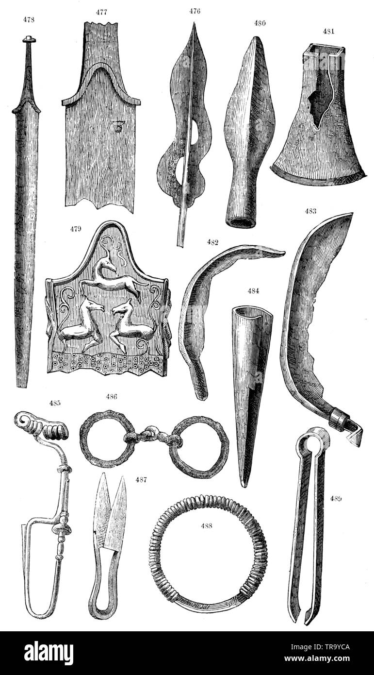 Jewellery and weapons from the La Téne Group. 476, 480) Lance tips, 477, 478) Swords, 479) Decorated sheath, 481) Celt, 482, 483) Sickles, 484) Earth borer, 485) Fibula, 486) Horse snaffle, 487, 489) Scissors, 488) Neck ring, ,  (anthropology book, 1874) - Stock Image