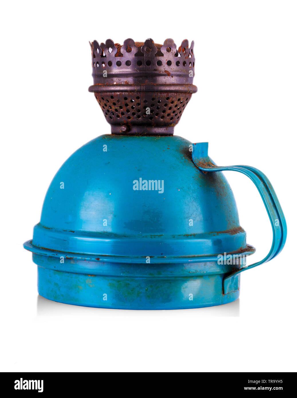 Old kerosene blue lamp isolated over white background - Stock Image