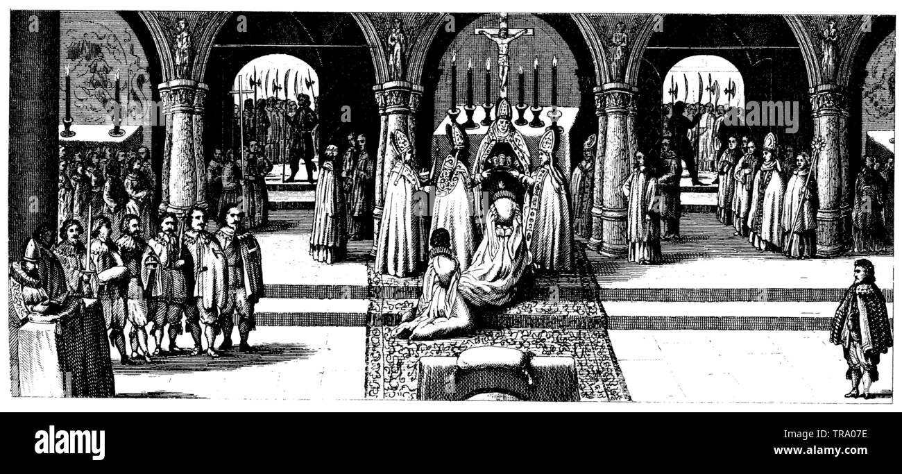 Court and State Ceremonies.Coronation of Empress Leonore (1630), ,  (cultural history book, 1875) - Stock Image