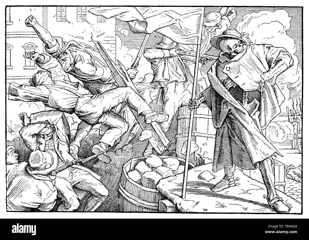 Death on the Barricade, , Alfred Rethel (natural history book, ) - Stock Image