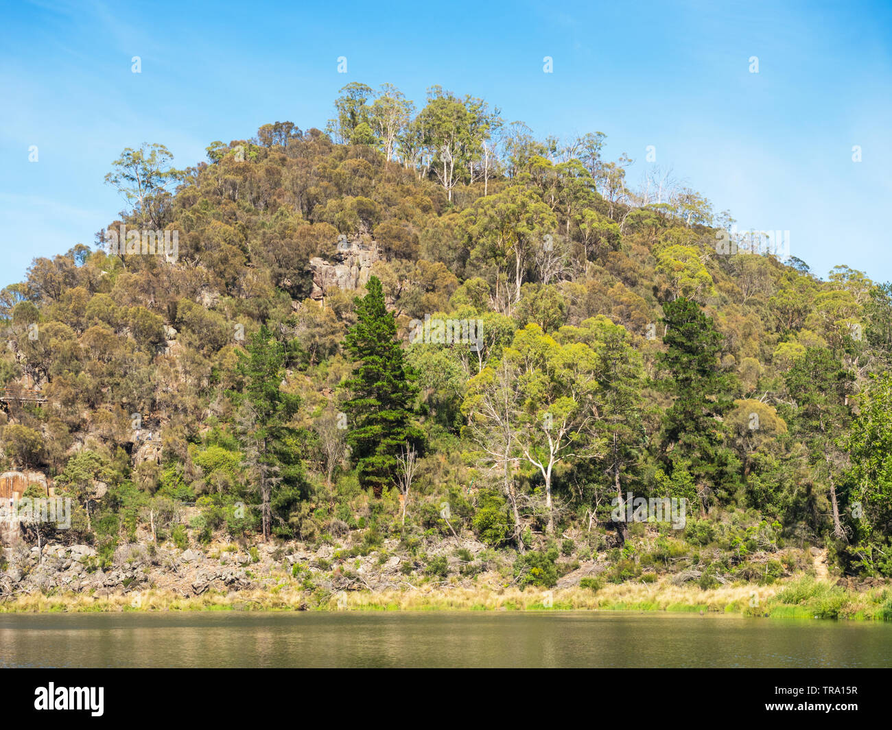First Basin in Cataract Gorge, in the lower section of the South Esk River in Launceston, Tasmania, Australia. Stock Photo